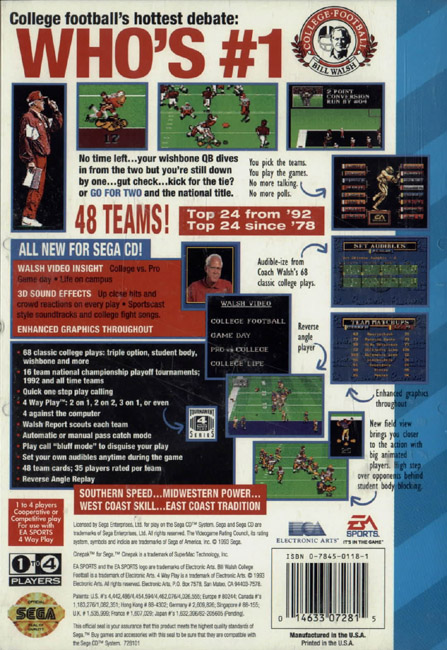 Bill Walsh College Football (U) Back Cover